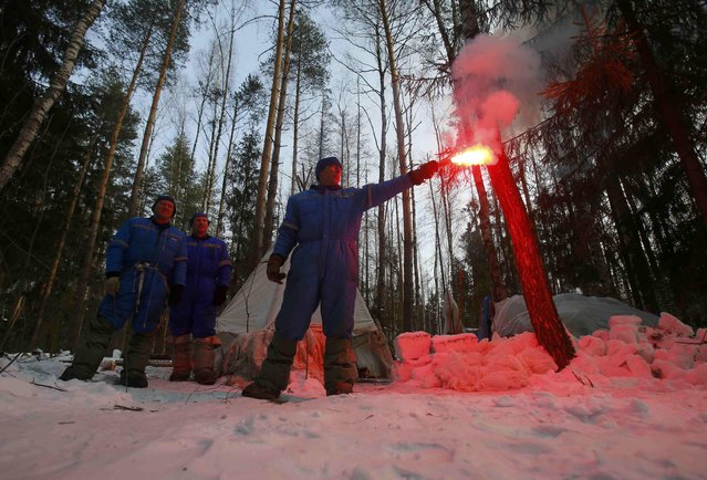 NASA astronaut Andrew Feustel of the U.S. (front), Roscosmos cosmonauts Sergei Prokopyev and Oleg Artemyev of Russia take part in a survival training exercise in Star City outside Moscow, Russia February 8, 2017. (Photo by Maxim Shemetov/Reuters)