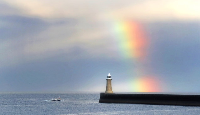 A rainbow over Tynemouth lighthouse in Northumberland, England on September 6, 2018. (Photo by Owen Humphreys/PA Wire via Getty Images)