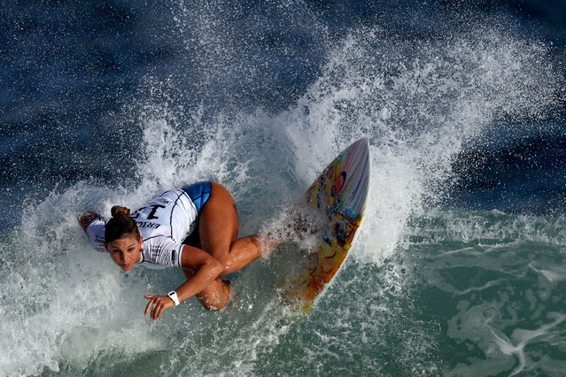 Sage Erickson of the United States surfs during Round 1 Heats at the Oi Rio Pro on May 12, 2015 in Rio de Janeiro, Brazil. (Photo by Matthew Stockman/Getty Images)