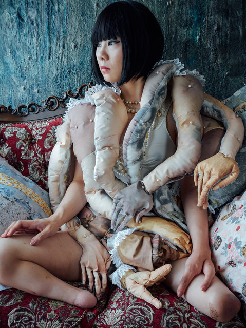 Bystander #02 (2016). For this work, Katayama photographed the hands of members of an all-female traditional puppet theatre group, printed them on to material and made them into a many-handed doll. (Photo by Mari Katayama/The Guardian)