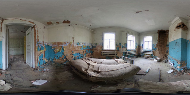 A bed stands in a room in an abandoned house on April 9, 2016 in Zalissya, Ukraine. Zalissya, once a village of several hundred households, stands inside the Chernobyl Exclusion Zone, a restricted zone contaminated by radiation from the 1986 meltdown of reactor number four at the Chernobyl nuclear power plant in the world's worst civilian nuclear accident that spewed radiaoactive fallout across the globe. Approximately 90 villages inside the zone were evacuated and abandoned due to the accident. The world will soon commemorate the 30th anniversary of the April 26, 1986 Chernobyl disaster. (Photo by Sean Gallup/Getty Images)