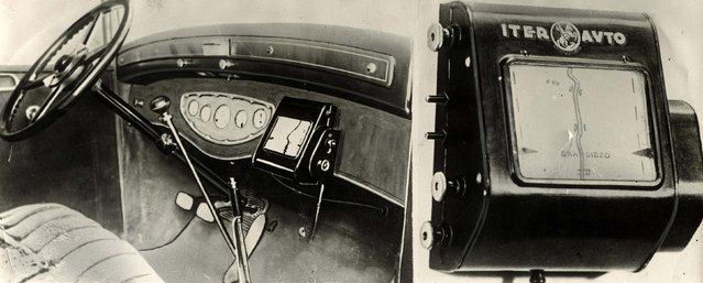A tripmaster, which had an automatic rolling map on the dashboard with identifying marks, like bridges, crossings and levels. Date: c.1930s. (Photo by Mary Evans Picture Library/Caters News)