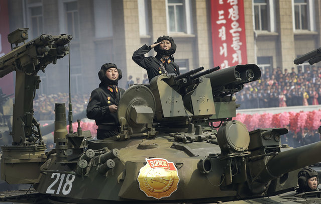 Soldiers in tanks are paraded on the Kim Il Sung Square during a military parade on Saturday, April 15, 2017, in Pyongyang, North Korea to celebrate the 105th birth anniversary of Kim Il Sung, the country's late founder and grandfather of current ruler Kim Jong Un. (Photo by Wong Maye-E/AP Photo)