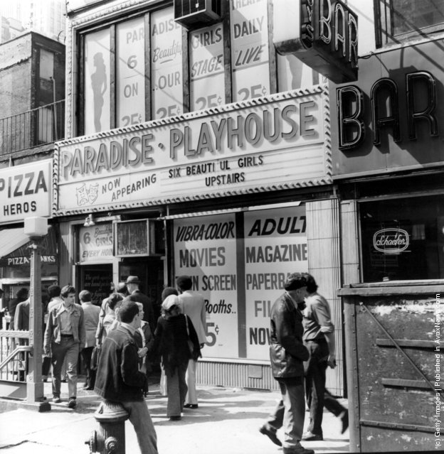1975:  A p*rn shop with films and live shows near Times Square, New York