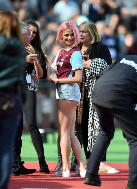 Pixie Lott is interviewed after performing at half-time during the Premier League match between West Ham United and Everton played at The London Stadium, London on April 22, 2017. (Photo by PA Wire)