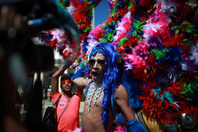 A participant reacts during the Annual March against Homophobia and Transphobia in Havana, May 14, 2016. (Photo by Alexandre Meneghini/Reuters)