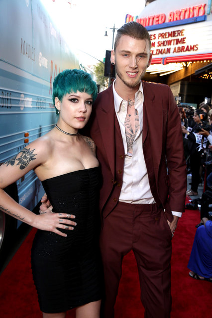 """Halsey and Machine Gun Kelly are seen at Showtime's """"Roadies"""" Premiere at The Theatre at ACE Hotel on Monday, June 6, 2016, in Los Angeles. (Photo by Eric Charbonneau/Invision for Showtime/AP Images)"""
