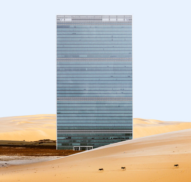 "Using digital editing, designer Anton Repponen places Manhattan buildings in desolate landscapes, ""inviting viewers to see them as if for the first time"". Here: United Nations headquarters. (Photo by Anton Repponen/The Guardian)"