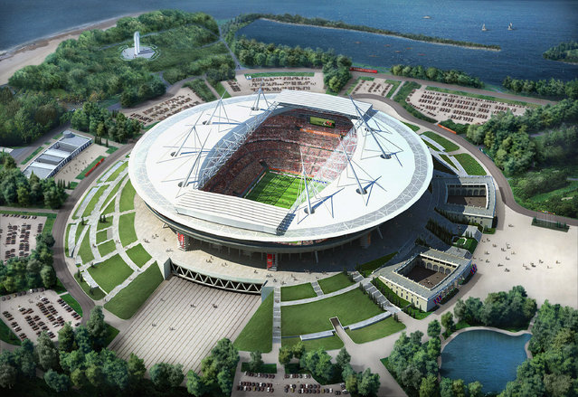 In this handout artists impression provided by the Russia 2018 Organising Commitee, the St Petersberg Stadium is shown as proposed and presented as part of the Russia 2018 World Cup bid, on September 29, 2011 in Russia. (Illustration by Russia 2018 via Getty Images)