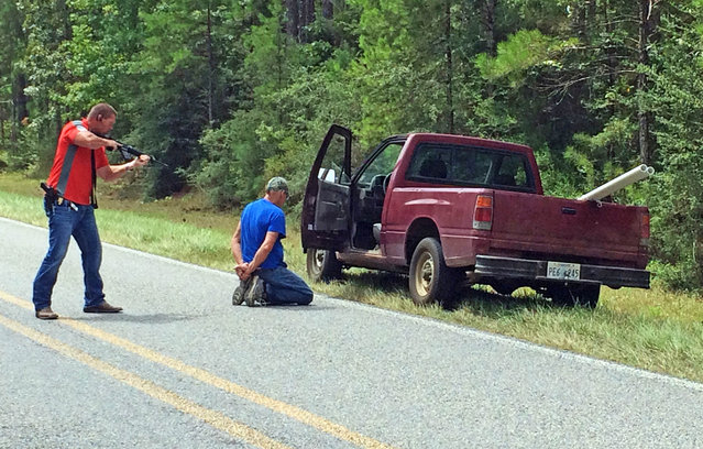 A Mississippi Bureau of Investigation agent detains a person of interest after shots were reportedly fired a second consecutive day near Camp Shelby, a military training facility near Hattiesburg, Miss., Wednesday, August 5, 2015. There were no reported injuries. The description of the shooter was the same in both instances – a white male in a red pickup truck. (Photo by Ryan Moore/WDAM-TV via AP Photo)
