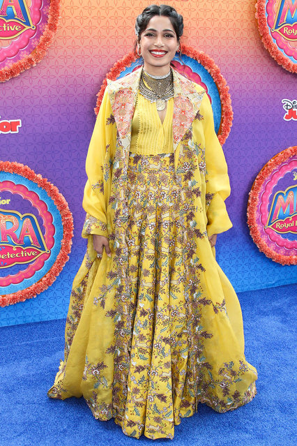"""Actress Freida Pinto arrives at the Los Angeles Premiere Of Disney Junior's """"Mira, Royal Detective"""" held at the Walt Disney Studios Main Theater on March 7, 2020 in Burbank, Los Angeles, California, United States. (Photo by Xavier Collin/Image Press Agency/The Mega Agency)"""