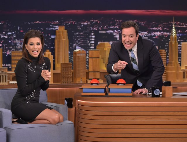 "Eva Longoria Farmer Visits ""The Tonight Show Starring Jimmy Fallon"" at Rockefeller Center on November 24, 2015 in New York City. (Photo by Theo Wargo/NBC/Getty Images for ""The Tonight Show Starring Jimmy Fallon"")"