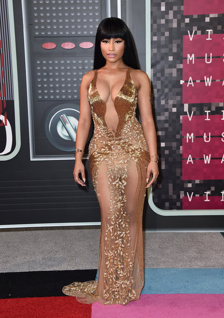 Nicki Minaj arrives at the MTV Video Music Awards at the Microsoft Theater on August 30, 2015, in Los Angeles. (Photo by Jordan Strauss/Invision/AP Photo)