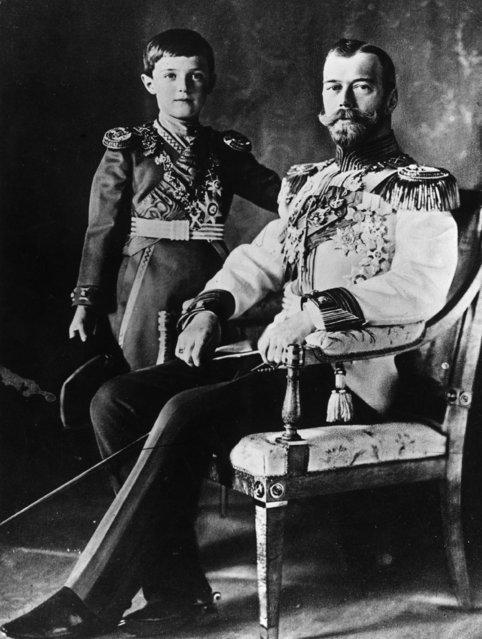 Nicholas II (1868–1918), Emperor of Russia with his son Alexis, December 1911.