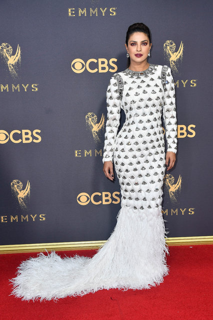 Actor Priyanka Chopra attends the 69th Annual Primetime Emmy Awards at Microsoft Theater on September 17, 2017 in Los Angeles, California. (Photo by Frazer Harrison/Getty Images)