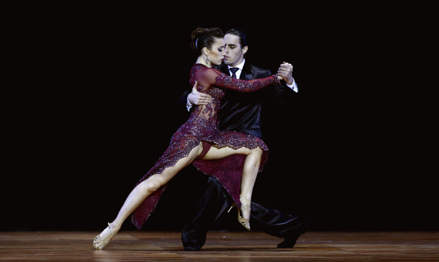 Manuela Rossi (L) and Juan Malizia Gatti from Argentina compete during the final round of the Tango World Championship in Stage style in Buenos Aires August 26, 2014. (Photo by Marcos Brindicci/Reuters)