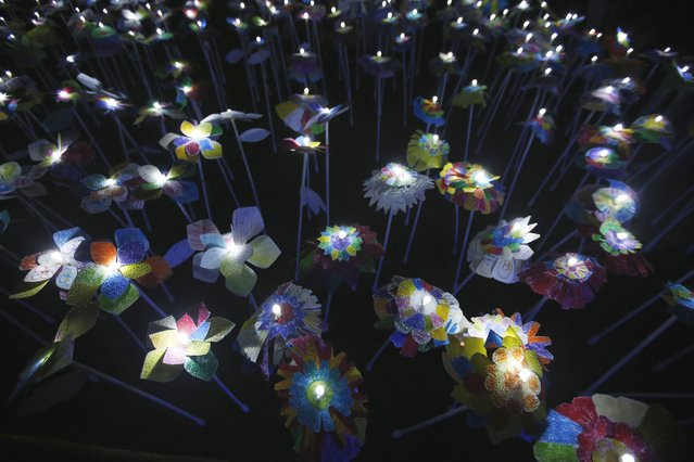 An installation created by children of Cascais is displayed during the Lumina Light Festival in Cascais September 14, 2014. (Photo by Rafael Marchante/Reuters)
