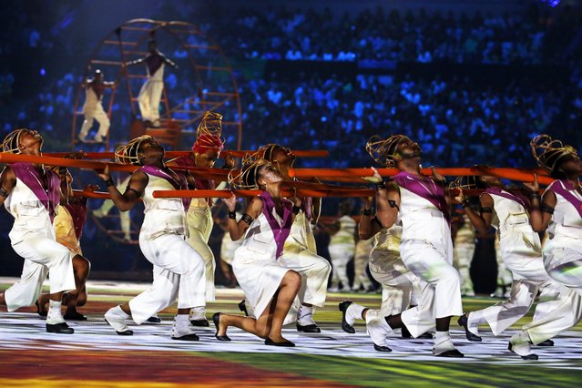 Dancers perform during the Opening Ceremony of the Rio 2016 Olympic Games at the Maracana Stadium in Rio de Janeiro, Brazil, 05 August 2016. (Photo by Sergey Ilnitsky/EPA)