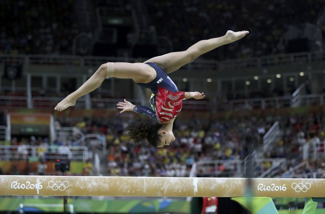 2016 Rio Olympics, Artistic Gymnastics, Preliminary, Women's Qualification, Subdivisions, Rio Olympic Arena, Rio de Janeiro, Brazil on August 7, 2016. Lauren Hernandez (USA) of the U.S. competes on the balance beam during the women's qualifications. (Photo by Damir Sagolj/Reuters)