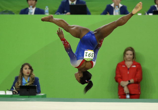 United States' Simone Biles performs on the floor during the artistic gymnastics women's apparatus final at the 2016 Summer Olympics in Rio de Janeiro, Brazil, Tuesday, August 16, 2016. (Photo by Dmitri Lovetsky/AP Photo)