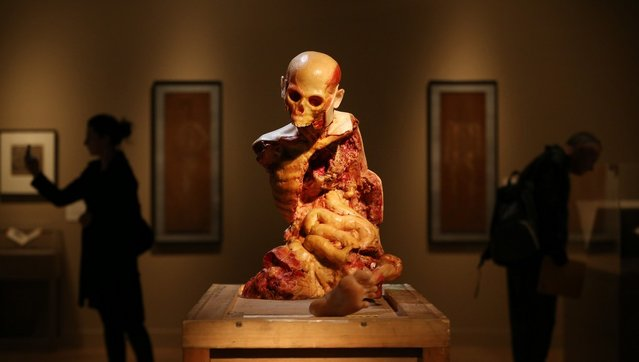 An artwork entitled 'Are you still mad at me ?' by John Isaacs is displayed at the Death: A Self-portrait exhibition at the Wellcome Collection on November 14, 2012 in London, England. The exhibition showcases 300 works from a unique collection by Richard Harris, a former antique print dealer from Chicago, devoted to the iconography of death. The display highlights art works, historical artifacts, anatomical illustrations and ephemera from around the world and opens on November 15, 2012 until February 24, 2013.  (Photo by Peter Macdiarmid)