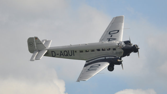"""Junkers Ju 52 D-AQUI """"Queen of the Skies"""" Luffhansia – Flying Legends Airshow Duxford 2012. The Junkers Ju 52 (nicknamed Tante Ju (""""Auntie Ju"""") and Iron Annie) was a German trimotor transport aircraft manufactured from 1932 to 1945. It saw both civilian and military service during the 1930s and 1940s. In a civilian role, it flew with over 12 air carriers including Swissair and Deutsche Luft Hansa as an airliner and freight hauler. In a military role, it flew with the Luftwaffe as a troop and cargo transport and briefly as a medium bomber. The Ju 52 continued in postwar service with military and civilian air fleets well into the 1980s. (Rob Lovesey)"""