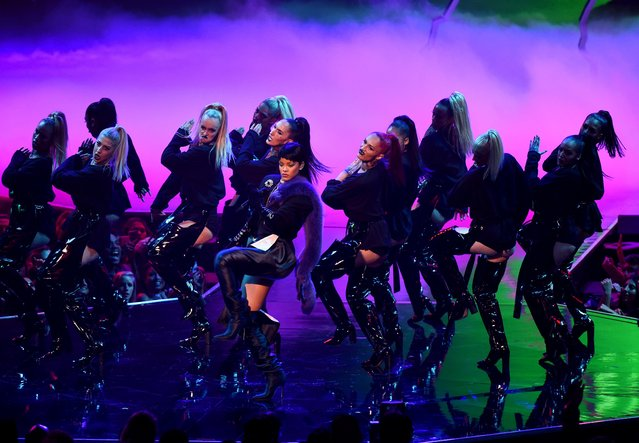 Rihanna, foreground center, performs at the MTV Video Music Awards at Madison Square Garden on Sunday, August 28, 2016, in New York. (Photo by Charles Sykes/Invision/ANSA/AP Photo)