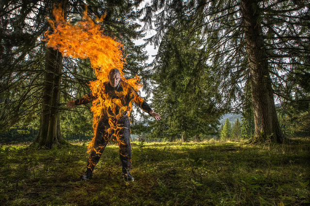 Josef Tödtling – Longest duration full-body burn (without oxygen) Guinness World Records 2016. Location: Styria, Austria. (Photo by Richard Bradbury/Guinness World Records)