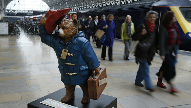 "Commuters alighting from a train pass by a statue of ""Paddington Bear"" on the platform at Paddington railway station in London, Wednesday, November 19, 2014.(Photo by Alastair Grant/AP Photo)"