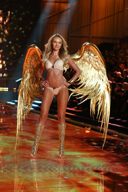 Candice Swanepoel walks the runway at the annual Victoria's Secret fashion show at Earls Court on December 2, 2014 in London, England. (Photo by Tim P. Whitby/Getty Images)