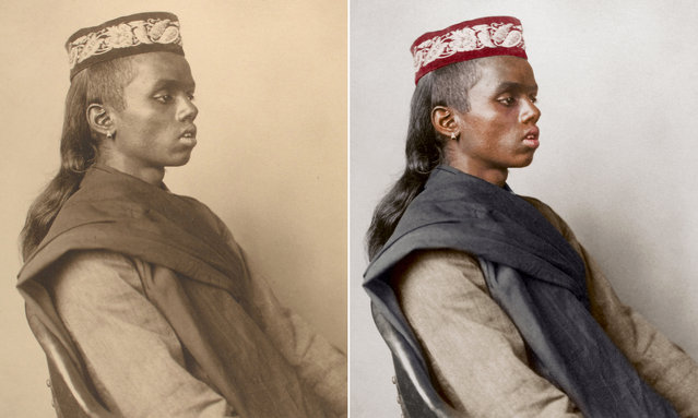 A Hindu boy circa 1911 wearing a cap – known as a topi and popular among Muslim communities – and a handspun prayer shawl. (Photo by Augustus Francis Sherman/New York Public Library/The Guardian)