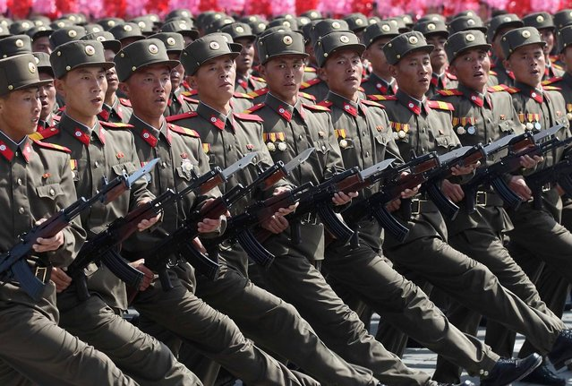 Soldiers march in a military parade in Pyongyang, on April 15, 2012. (Photo by Reuters/Stringer)
