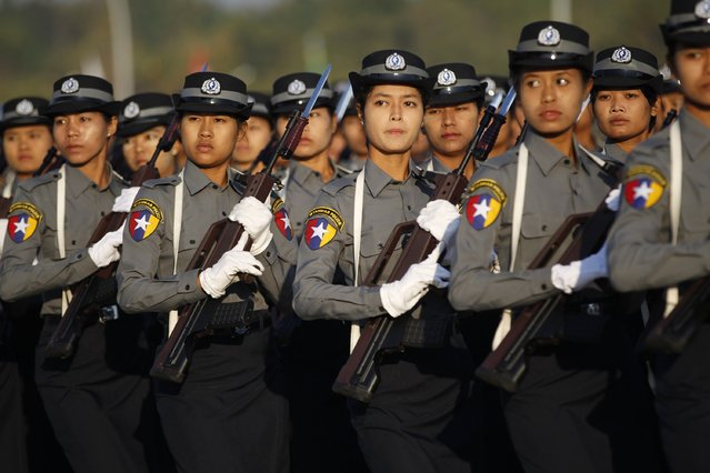 Police women march during the Grand Military Review Parade ceremony to mark the 67th Myanmar Independence Day in Naypyitaw January 4, 2015. (Photo by Soe Zeya Tun/Reuters)