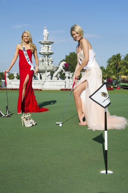 Miss Great Britain 2014 Grace Levy and Miss Germany 2014 Josefin Donat take a break from filming to play golf at the 63rd Annual Miss Universe Pageant in Miami, Florida in this January 7, 2015, handout photo. (Photo by Reuters/Miss Universe Organization)