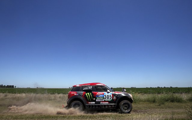 Mini driver Orlando Terranova of Argentina drives during the first stage of the Dakar Rally 2015 from Buenos Aires to Villa Carlos Paz January 4, 2015. (Photo by Jean-Paul Pelissier/Reuters)