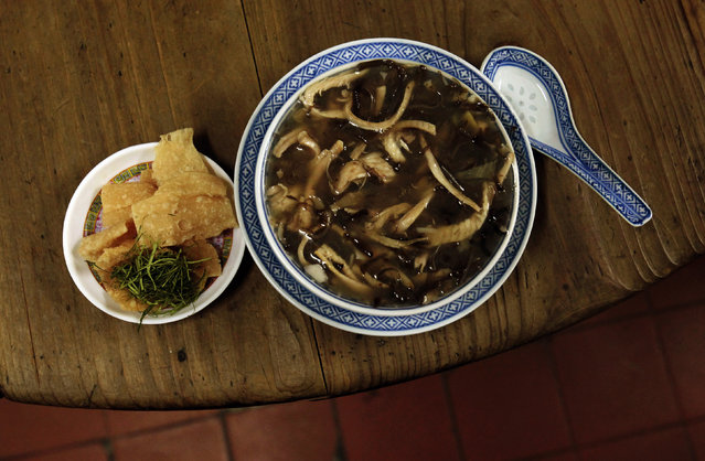 Snake meat is seen in a bowl of snake soup served at a snake soup shop in Hong Kong  January 30, 2013. (Photo by Bobby Yip/Reuters)