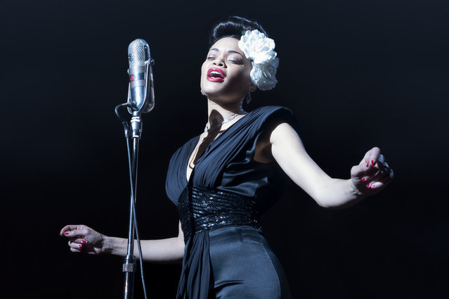 "This image released by Paramount Pictures shows American singer Andra Day in ""The United States vs Billie Holiday"". Day accepted the award best actress in a motion picture drama at the Golden Globe Awards on Sunday, February 28, 2021. (Photo by Takashi Seida/Paramount Pictures via AP Photo)"