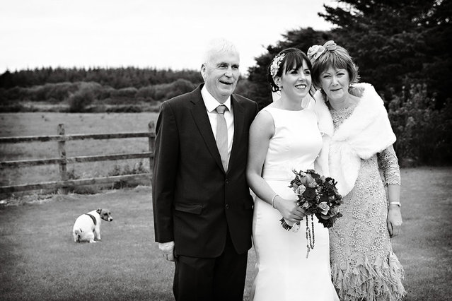 Dog takes a poo during familys wedding photo. (Photo by Mark Capilitan/Caters News Agency/ISPWP)