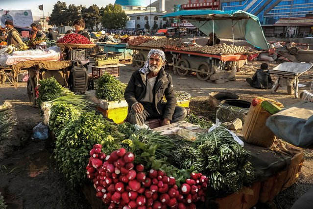 An Afghan man sales vegetables as he waits for customers during the Muslim holy month of Ramadan in Kabul, Afghanistan, 18 April 2020. Muslims around the world celebrate the holy month of Ramadan by praying during the night time and abstaining from eating, drinking, and sexual acts during the period between sunrise and sunset. Ramadan is the ninth month in the Islamic calendar and it is believed that the revelation of the first verse in Koran was during its last 10 nights. (Photo by Hedayatullah Amid/EPA/EFE)