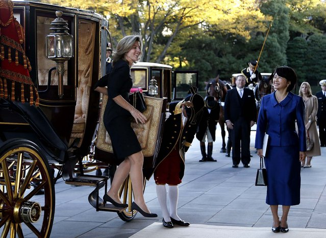 New U.S. Ambassador to Japan Caroline Kennedy steps out from a horse-drawn imperial carriage upon her arrival at the Imperial Palace in Tokyo, on November 19, 2013. Kennedy, who arrived in Tokyo Friday to replace her predecessor John V. Roos, presented credentials to Emperor Akihito in a formal court ceremony at the palace. (Photo by Koji Sasahara/Associated Press)