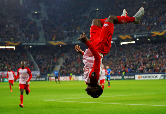 Salzburg's Patson Daka celebrates after scoring during the Europa League round of 32 second leg soccer match between FC Salzburg and Club Brugge at the Arena in Salzburg, Austria, Thursday, February 21, 2019. (Photo by Leonhard Foeger/Reuters)