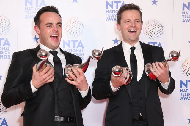 Anthony McPartlin and Declan Donnelly pose in the winners room at the National Television Awards in London. (Photo by Mike Marsland/WireImage)