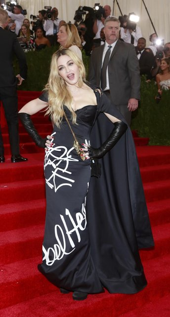 "U.S. singer  Madonna arrives for the Metropolitan Museum of Art Costume Institute Gala 2015 celebrating the opening of ""China: Through the Looking Glass"" in Manhattan, New York May 4, 2015. (Photo by Andrew Kelly/Reuters)"