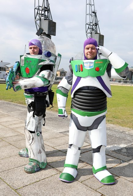 A pair of Buzz Lightyears pose during Day 2 of London MCM Comic Con 2019 at ExCel on May 25, 2019 in London, England. (Photo by Paul Brown/Shutterstock)