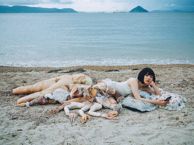 "Bystander #01 (2016). Katayama lies on a beach in Naoshima, an island in Japan's Seto Inland Sea. The work was inspired by Botticelli's ""Birth of Venus"". (Photo by Mari Katayama/The Guardian)"