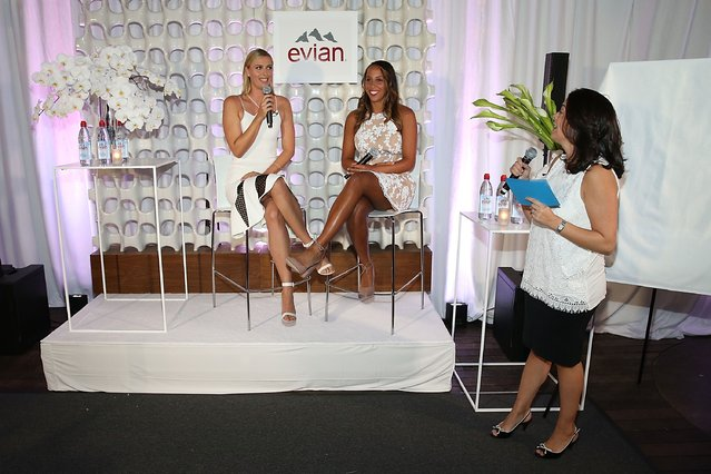 (L-R) Maria Sharapova, Madison Keyes and Olivia Sanchez attend the evian Brand Ambassador & 750 ml Sports Bottle Launch at HYDE Sunset: Kitchen + Cocktails on March 2, 2017 in West Hollywood, California. (Photo by Joe Scarnici/Getty Images for evian)