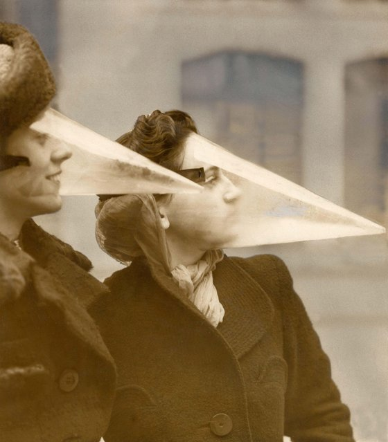 Plastic face protection from snowstorms in Montreal, Canada. Date: 1939. (Photo by Mary Evans Picture Library/Caters News)