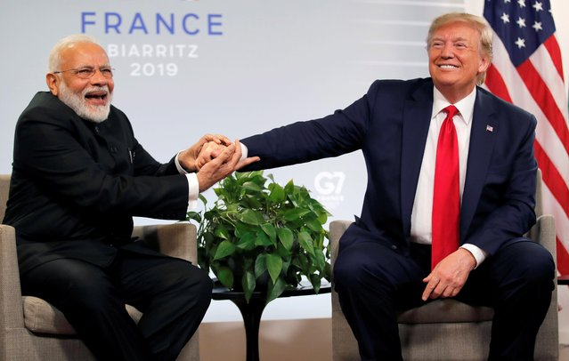 President Donald Trump meets Indian Prime Minister Narendra Modi for bilateral talks during the G7 summit in Biarritz, France, August 26, 2019. (Photo by Carlos Barria/Reuters)