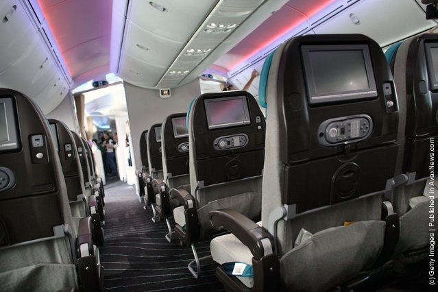 The interior of the Boeing 787 Dreamliner