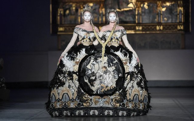 Models walk the runway during Guo Pei's first ever runway show in the UK, staged to celebrate the 20th anniversary of the V&A's Fashion in Motion series on 01 November, 2019 in London, England. (Photo by James Veysey/Rex Features/Shutterstock)